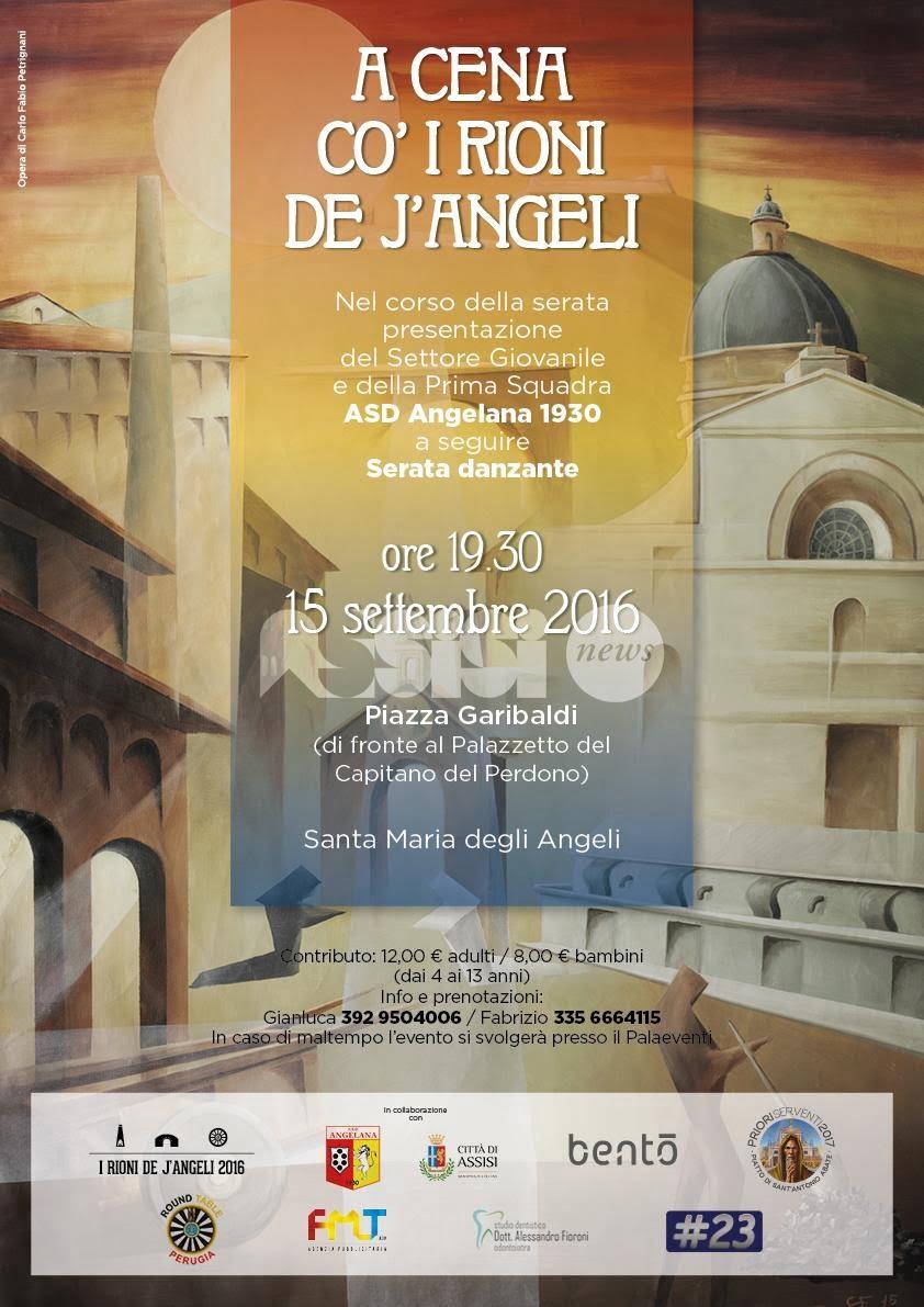 """""""A cena co' i Rioni de J'Angeli"""": l'appuntamento è per giovedì 15 settembre alle 19.30"""