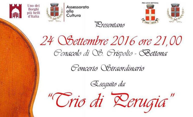 """Bettona: sabato 24 settembre il """"Trio di Perugia"""" in concerto con musiche di Beethoven"""