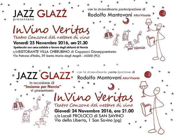 In Vino Veritas con Rodolfo Mantovani e Jazz Glazz: spettacolo e solidarietà