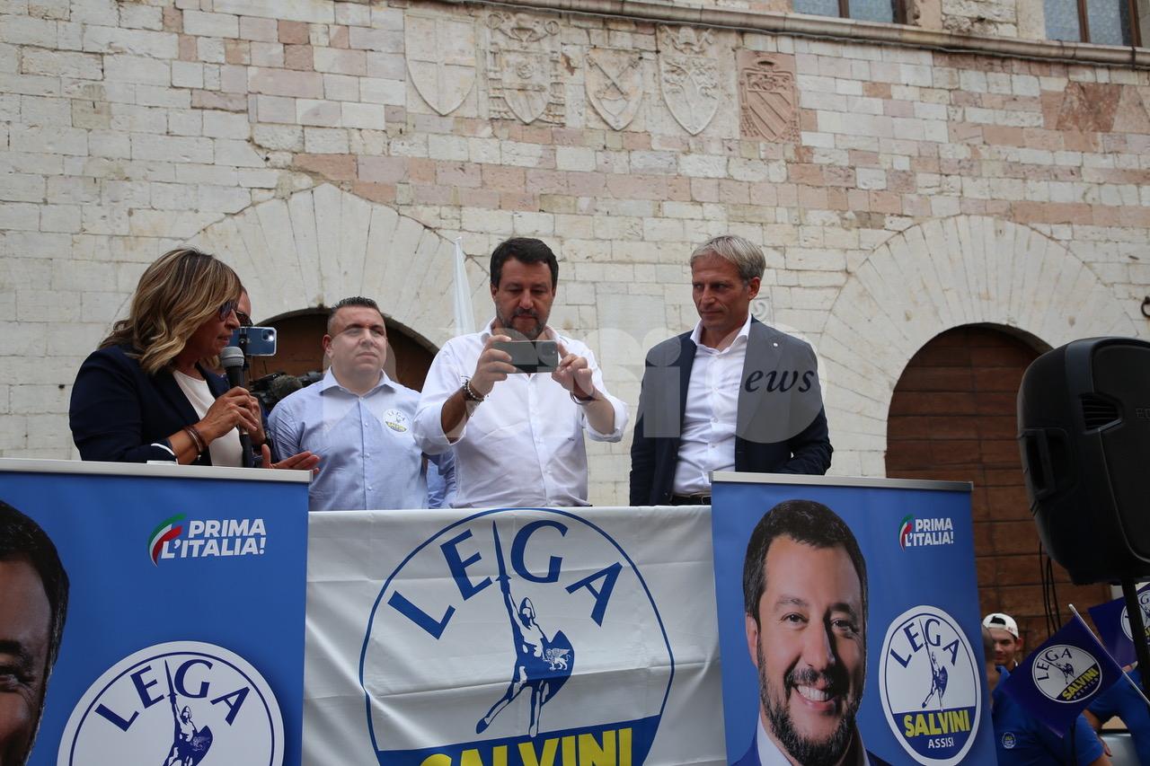 Matteo Salvini torna ad Assisi per la volata di Marco Cosimetti (foto+video)