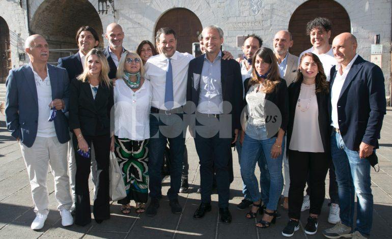 Matteo Salvini ad Assisi per sostenere la Lega e Cosimetti (foto+video)