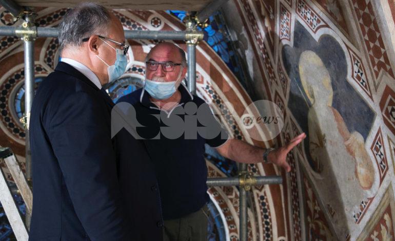 Restauro della Cappella della Maddalena di Giotto a San Francesco, il cantiere visitato dal ministro Gualtieri (FOTO)
