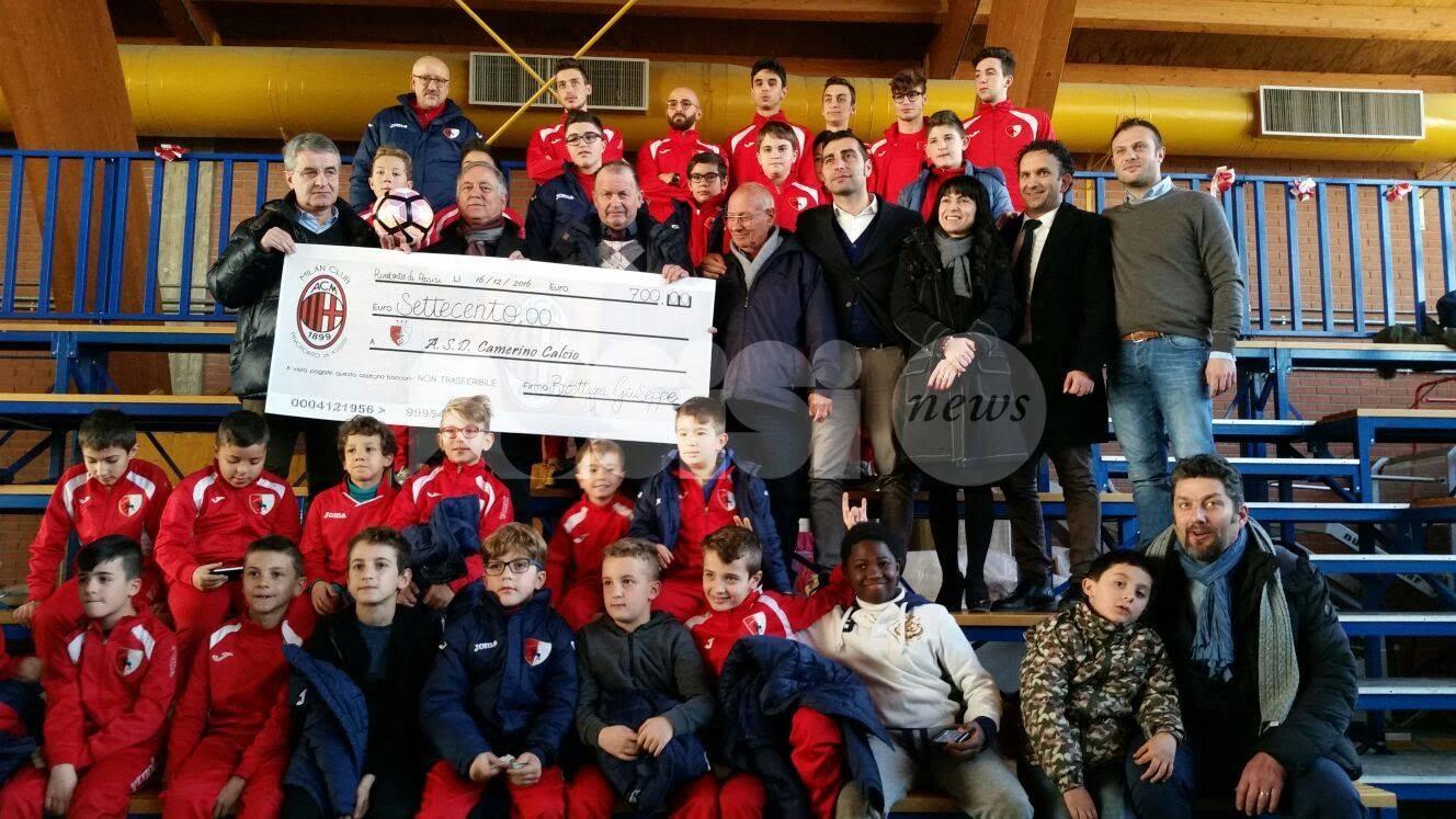 Milan Club Rivotorto raccoglie 700 euro per settore giovanile Camerino calcio