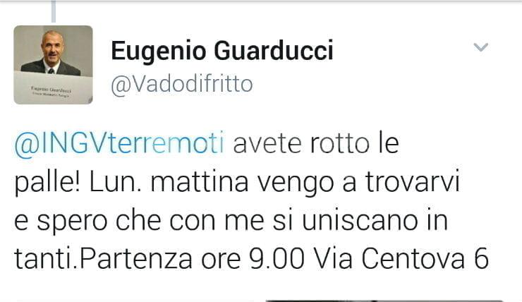 """Eugenio Guarducci contro l'Ingv su Twitter: """"Avete rotto, lunedì vi vengo a trovare"""""""