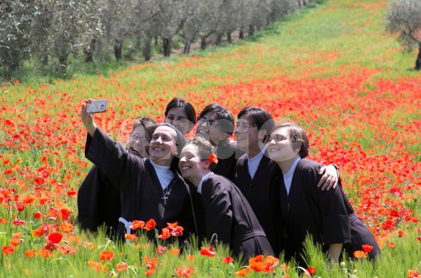 Suore tra i papaveri, fede e natura in uno scatto da Assisi
