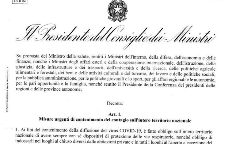 Dpcm 13 ottobre 2020: nuove regole per mascherine, feste, bar e ristoranti