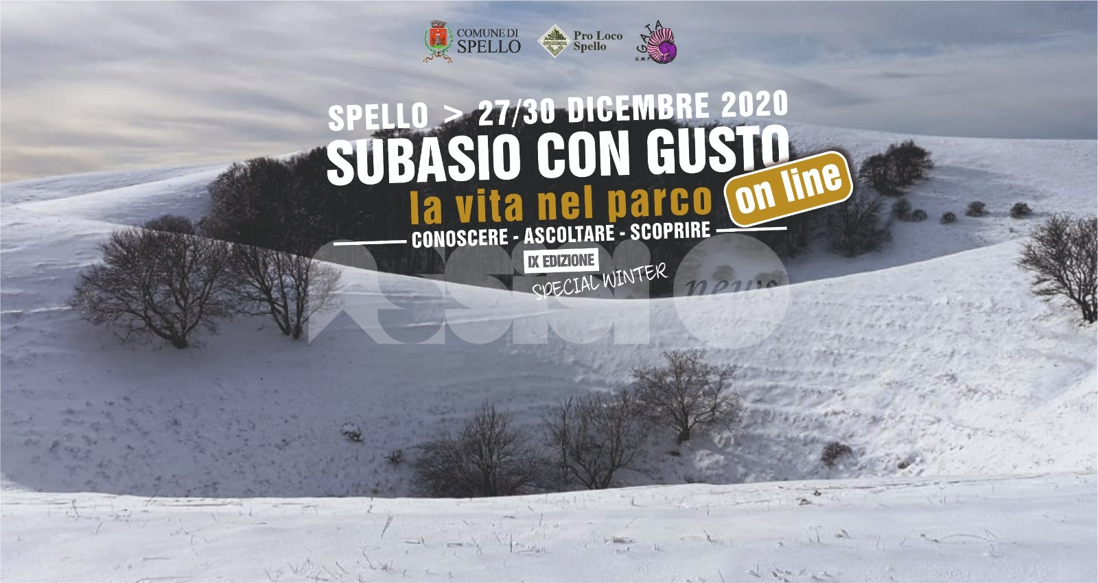 Subasio con Gusto 2020, edizione online fino a mercoledì 30 dicembre