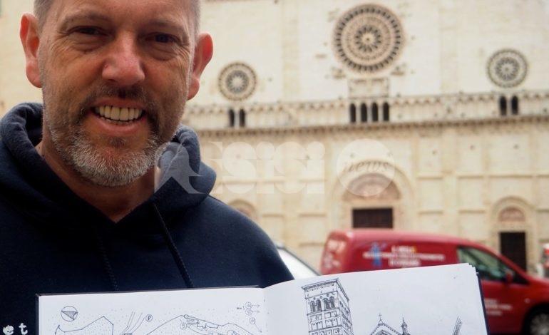 Assisi vista dagli occhi di Guglielmo Botter: disegni a china dell'artista italo-americano (foto)