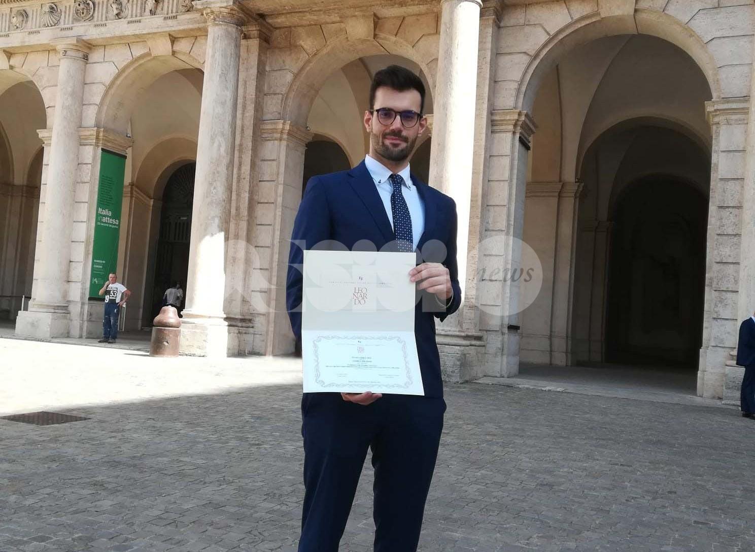 Premi Leonardo 2021, fra i vincitori Andrea Migliosi, assisano laureato in Ingegneria edile architettura